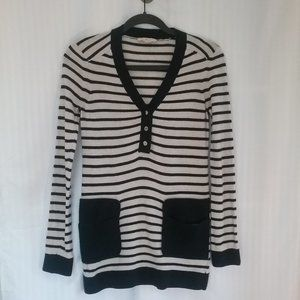 Tory Burch Navy & Cream Striped V-neck Sweater | M